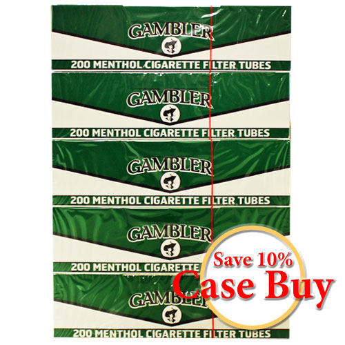 Gambler Menthol King Size Filter Tubes 200ct - 50ct Case