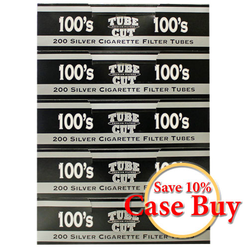 Gambler Tubecut Silver 100mm Filter Tubes 200ct - 50ct Case
