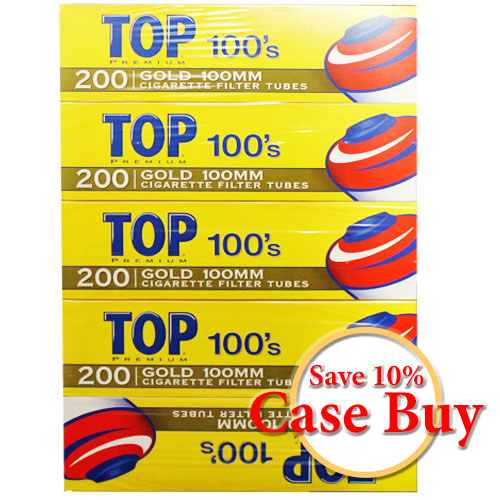 Top Gold 100mm Filter Tubes 200ct Box - 50ct Case