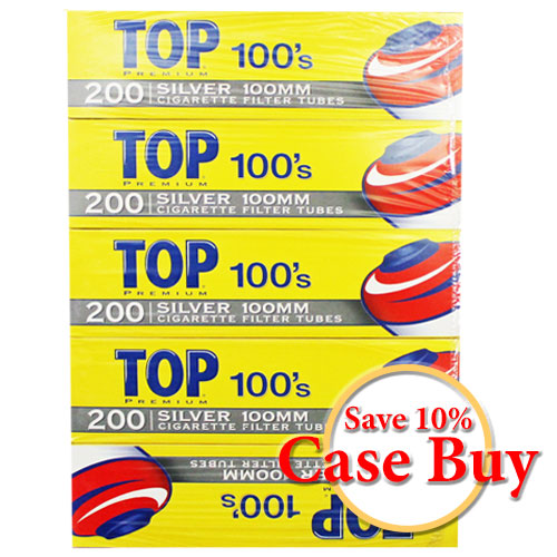 Top Silver 100mm Filter Tubes 200ct Box - 50ct Case